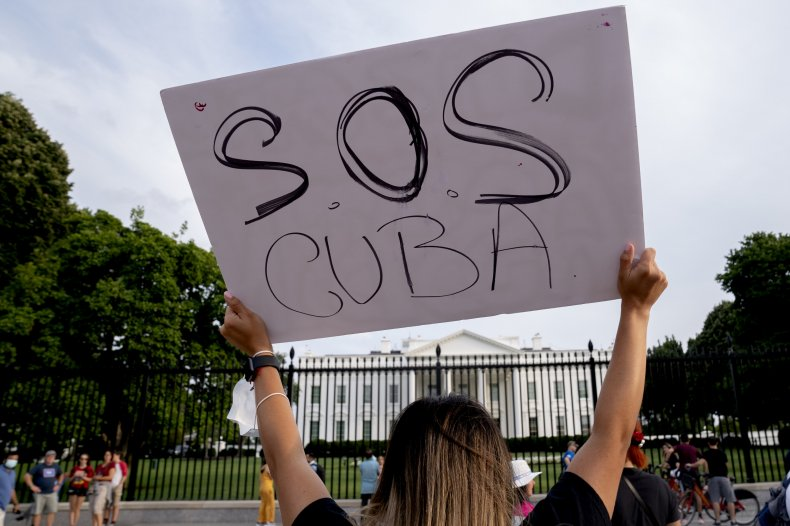 Cuba, protest, at, White, House