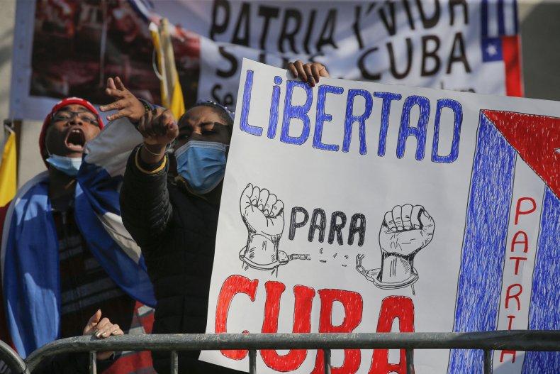 Cuba Embassy protestors