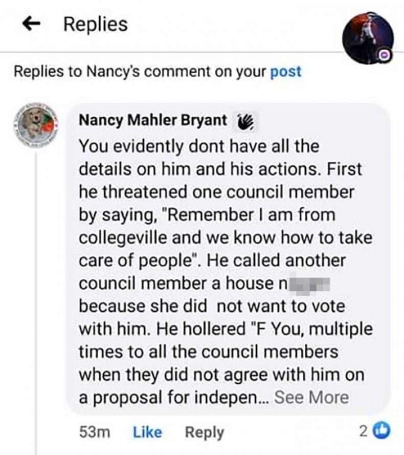Facebook screenshot, Nancy Bryant, Slur