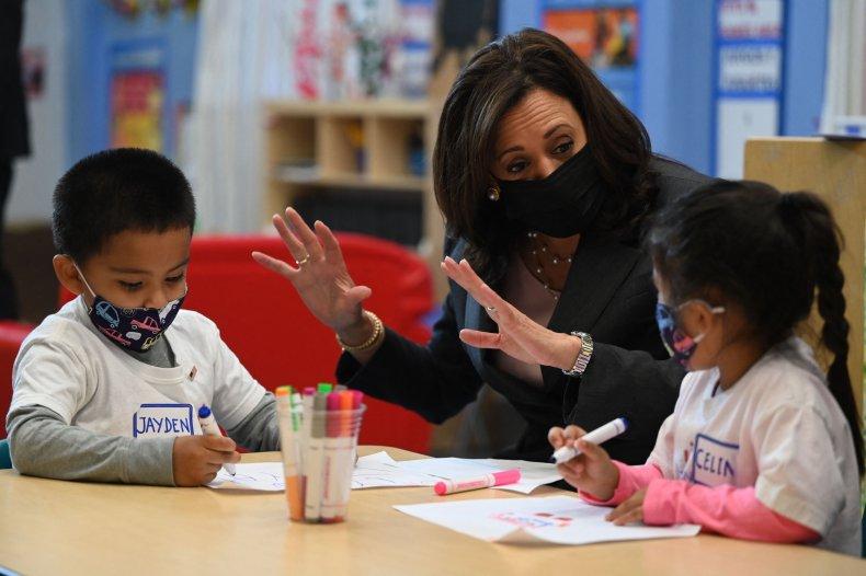 Vice President Kamala Harris visits children