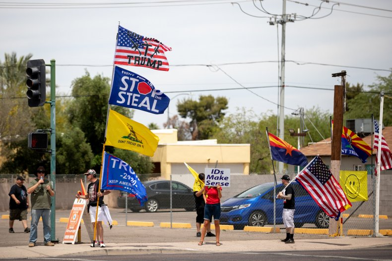 Pro-Trump protesters outside Maricopa County ballot counting