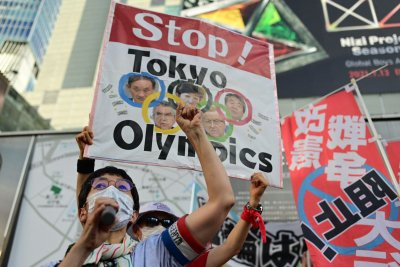 Protesters in Tokyo demonstrate against Olympic Games