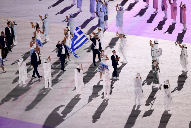 Team Greece lead Olympic opening ceremony parade