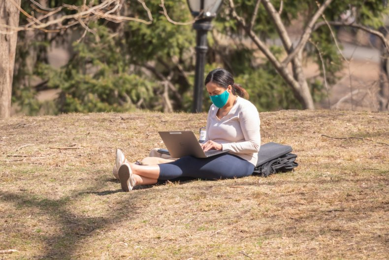 Remote Worker in Central Park