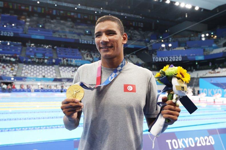 Tunisian swimmer Ahmed Hafnaoui at Tokyo 2020.
