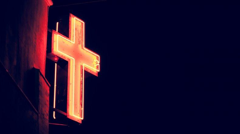 A neon cross.