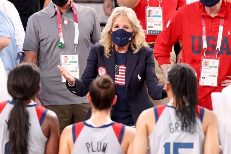 Jill Biden cheers on Team USA.