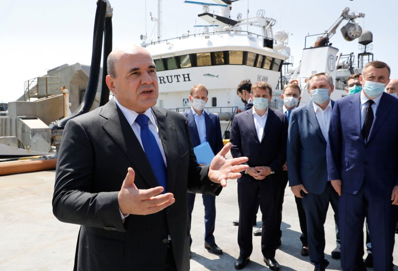 Russian Prime Minister Tours Fish Processing Plant