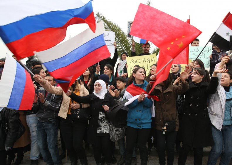 Government, rally, Russia, China, Syria, flags