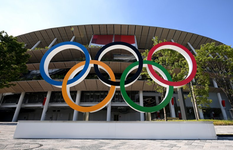 The Olympic rings at Tokyo's Olympic Stadium.