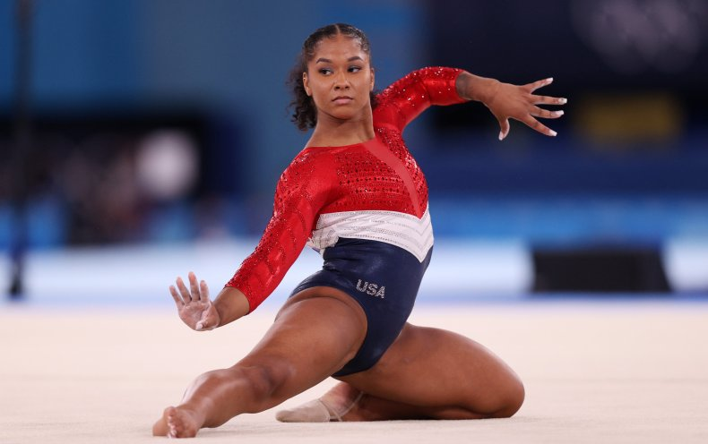 Jordan Chiles competes in the floor event.