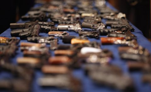 A table of illegal firearms confiscated in