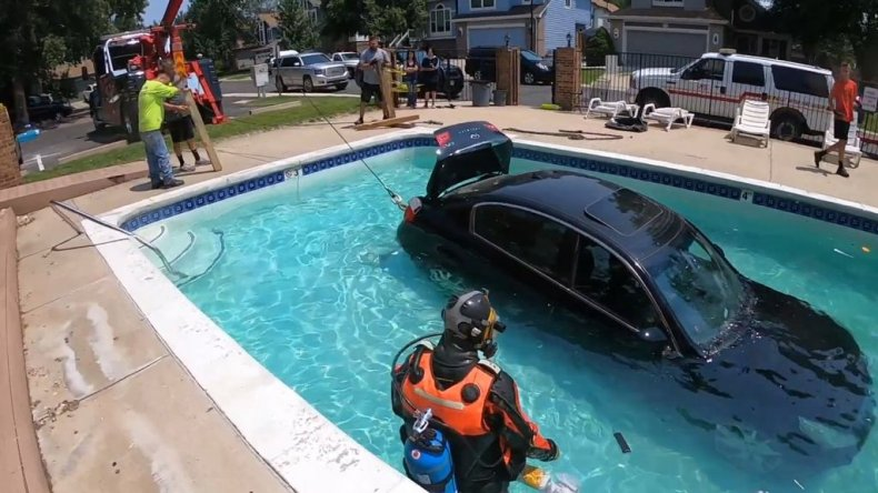 Towing car out of pool
