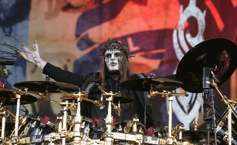 Slipknot's Joey Jordison on a U.K. stage.