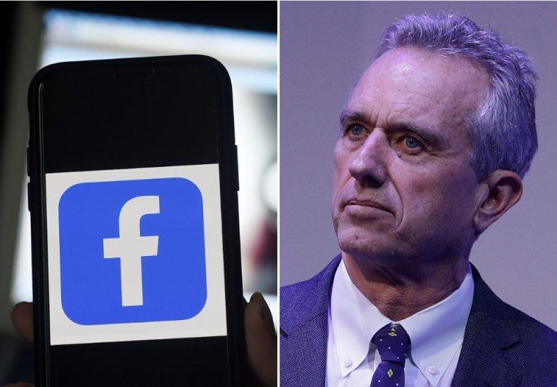 Facebook logo and Robert Kennedy Jr