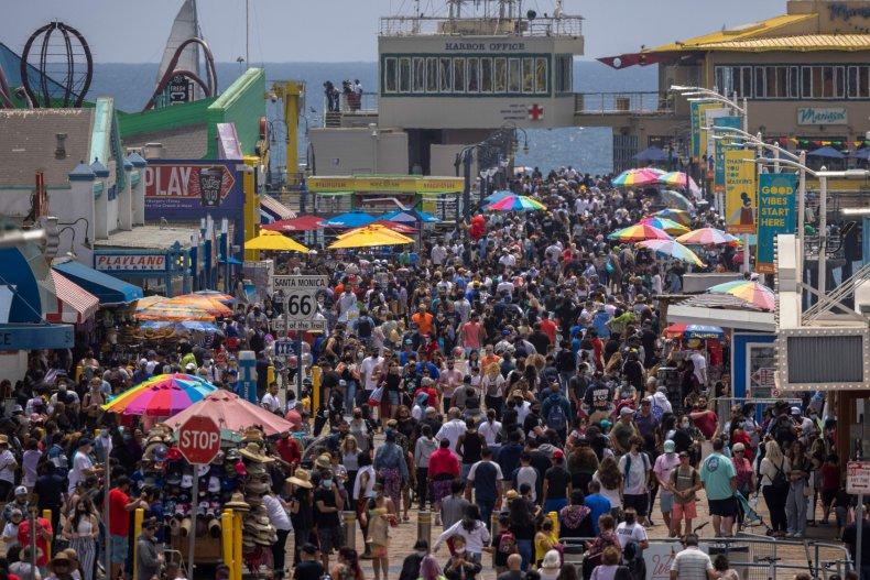 Crowds at Santa Monica Pier in California.