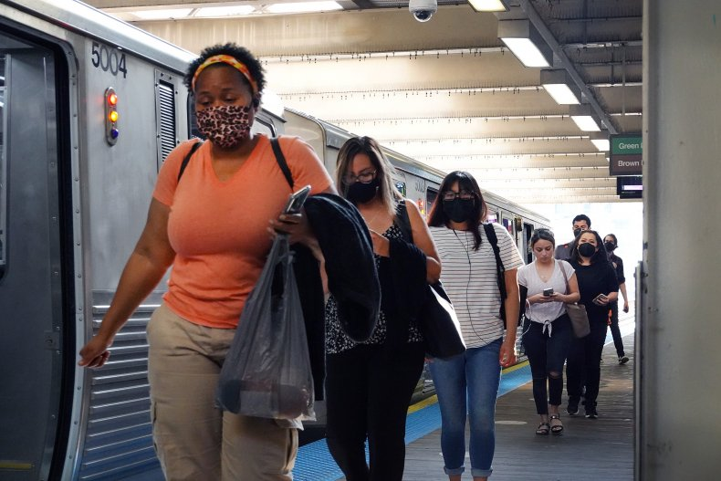Commuters Wear Face Masks in Chicago