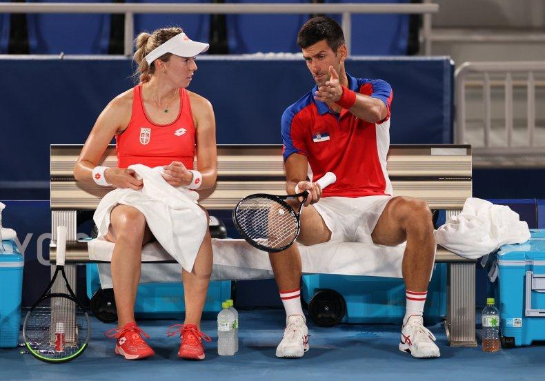 Novak Djokovic during mixed doubles match