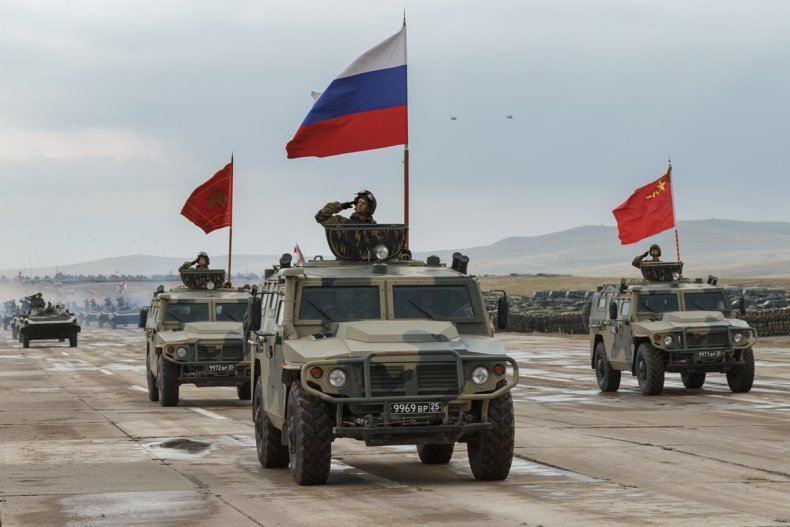 Russia, China, military, flags, parade, Vostok, 2018
