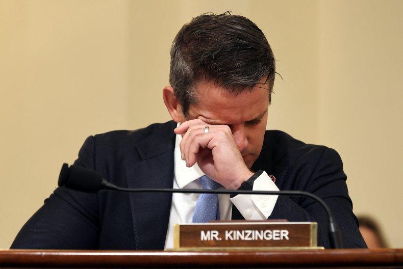 Adam Kinzinger wipes eyes during hearing