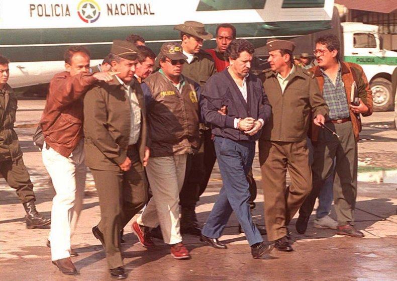 Miguel Rodriguez Orejuela in Bogota after arrest