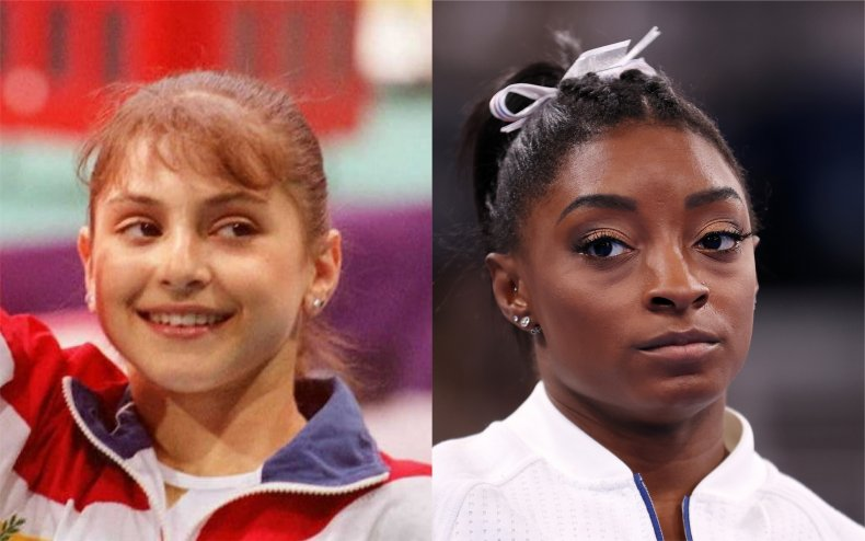 American gymnasts Dominique Moceanu and Simone Biles.