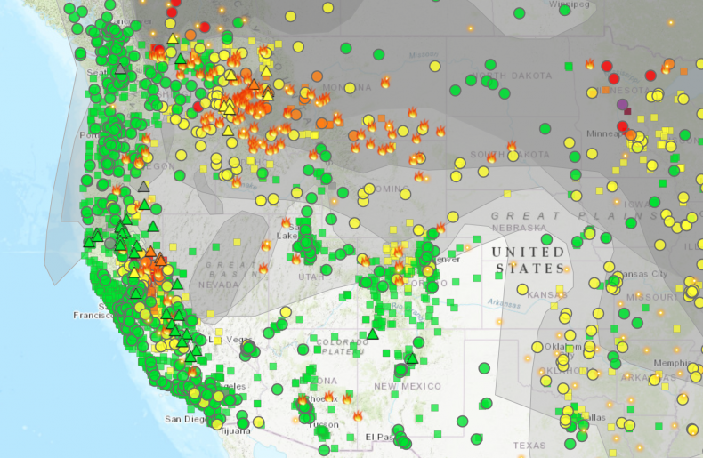 Wildfire and smoke map in U.S.