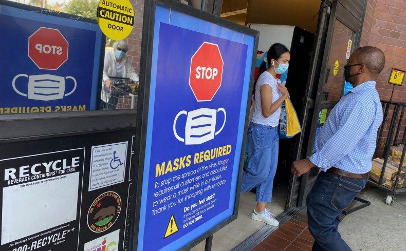 Grocery store enforcing masks