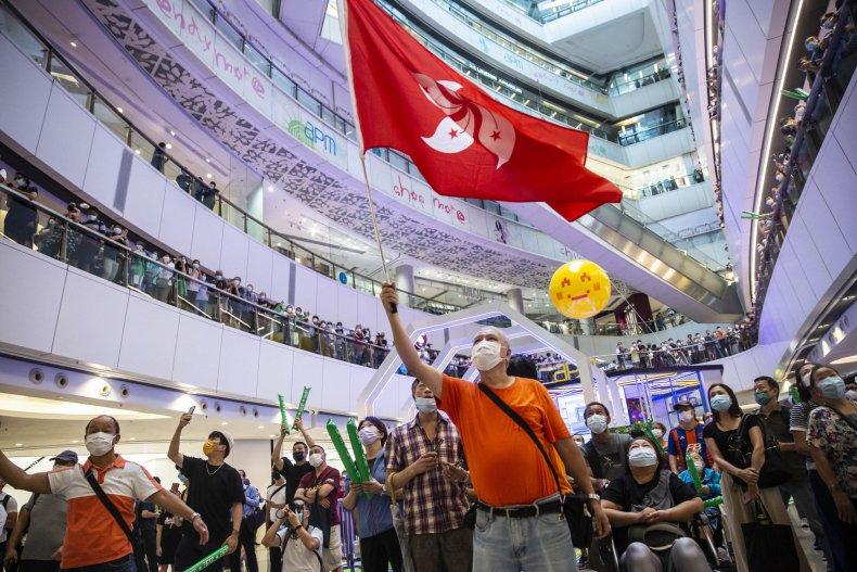 The Hong Kong flag waved in shoppingmall