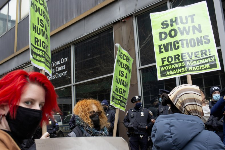 Rent protestors