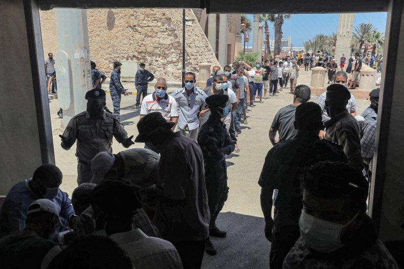 Libya COVID Testing Queue