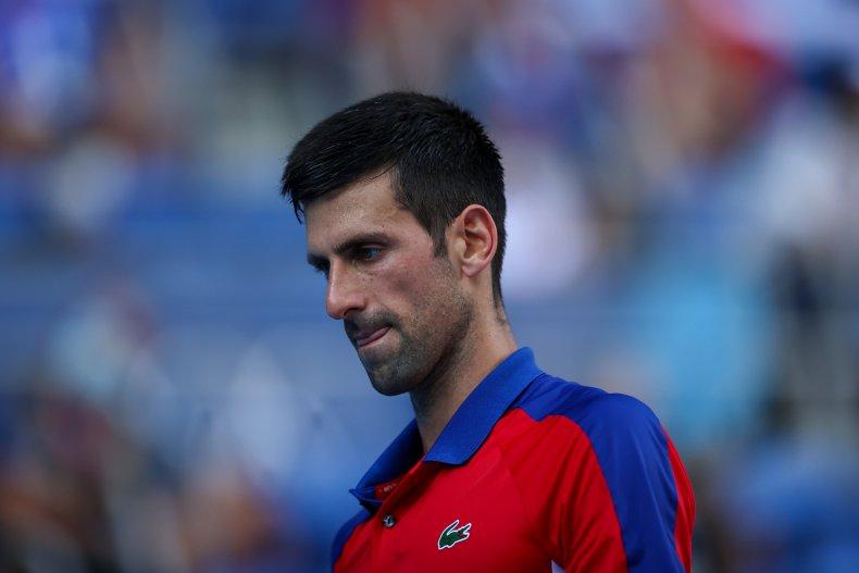Novak Djokovic at the Tokyo 2020 Olympics.