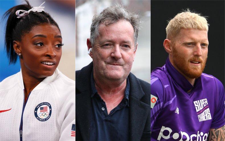 Simone Biles, Piers Morgan and Ben Stokes.