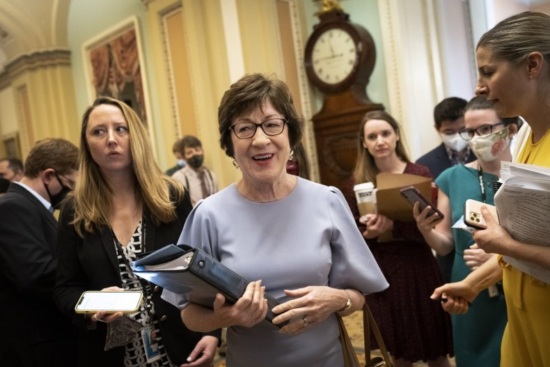 Susan Collins speaks with reports at Capitol