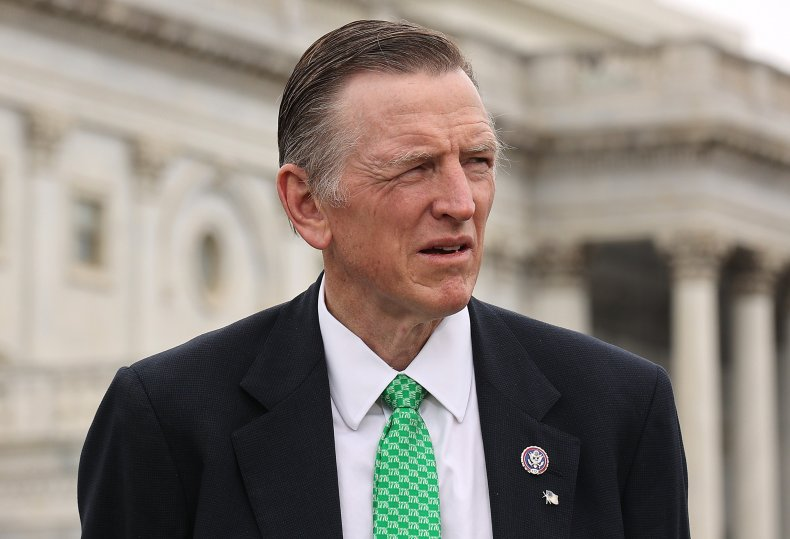 Paul Gosar stands outside the US Capitol.