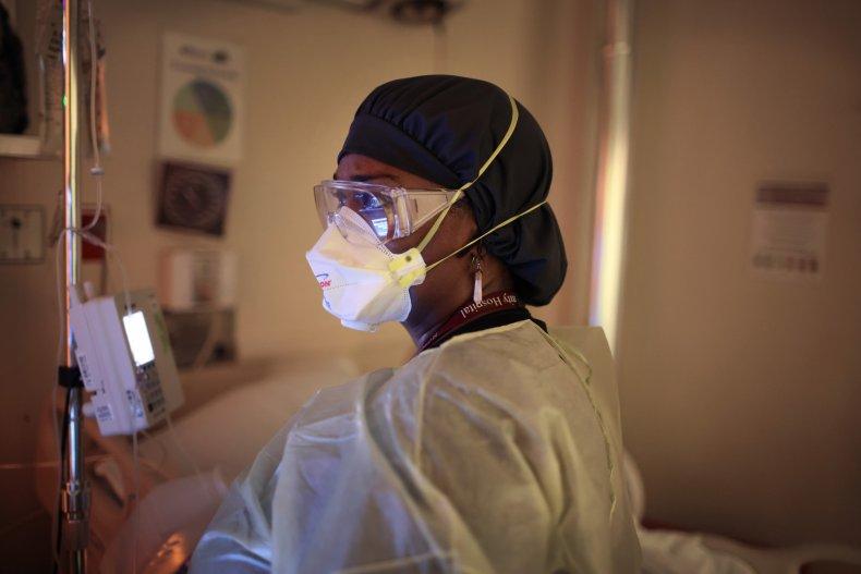 A woman performs an echocardiogram