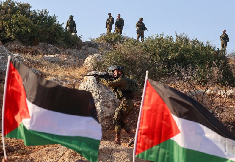 Palestinian, protest, flags, Israeli, soldiers