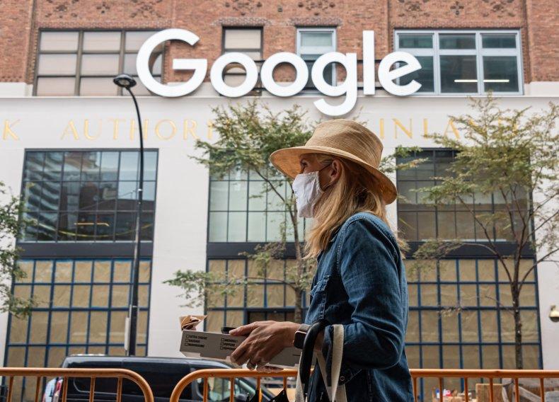 A mask wearer outside Google in NYC.
