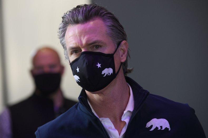 Governor Gavin Newsom Wears a Face Mask
