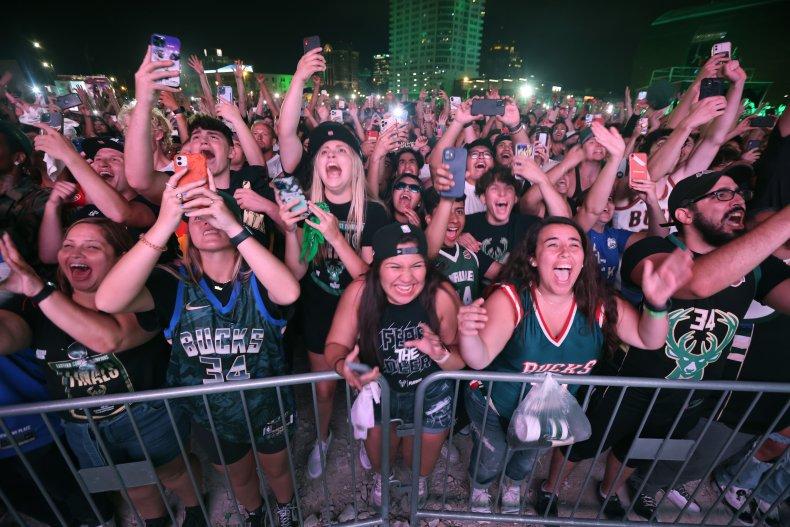 Bucks fans celebrating