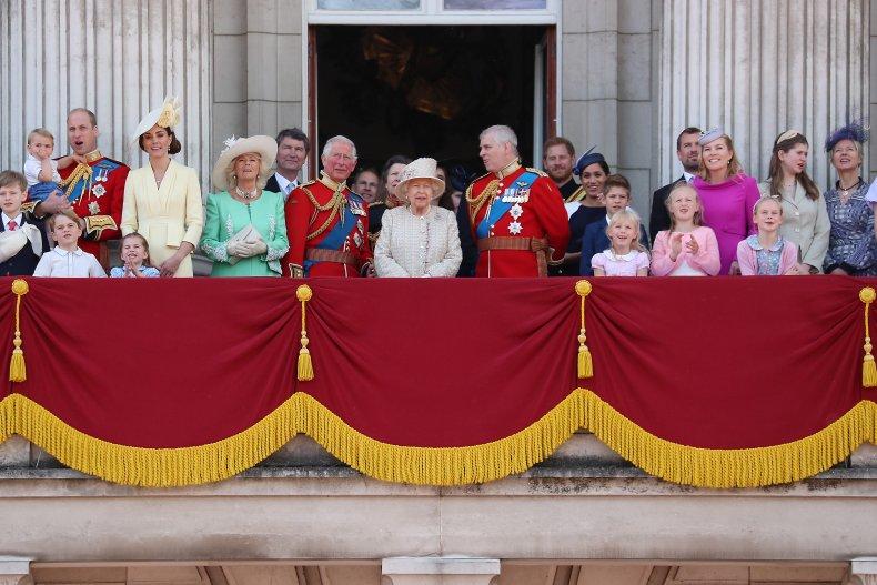The royal family on Bucking Palace's balcony.