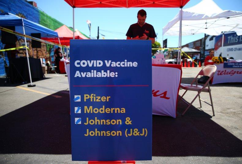 A COVID vaccine sign in LA.