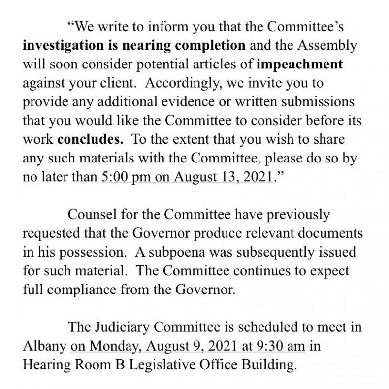 Statement on Cuomo Impeachment