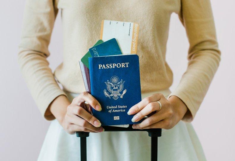 Woman holding American passport