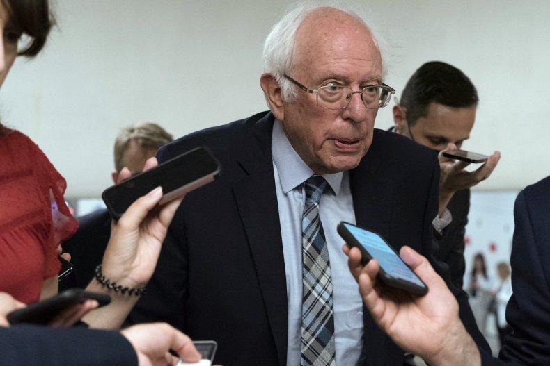 Bernie Sanders Before Infrastructure Test Vote