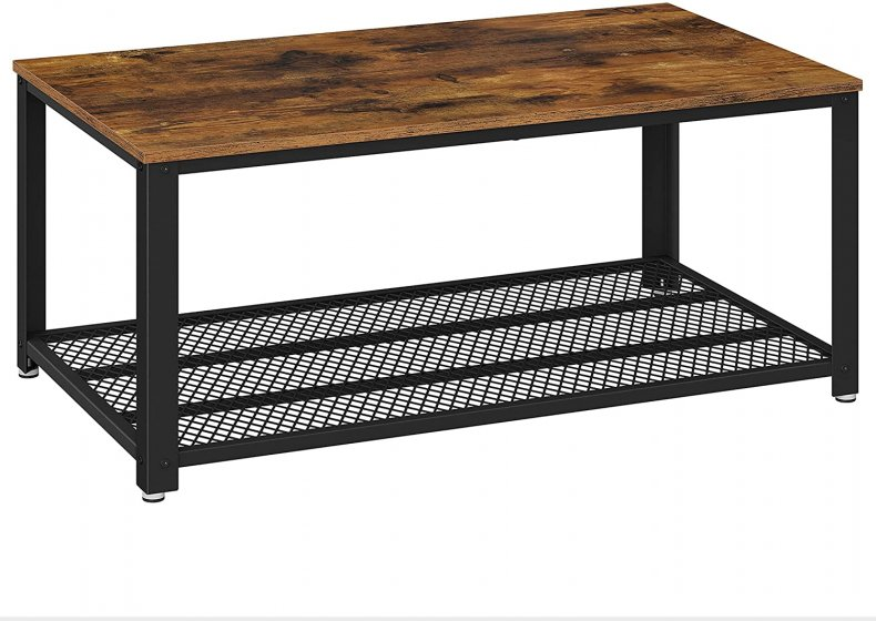 Industrial Coffee Table with Storage Shelf