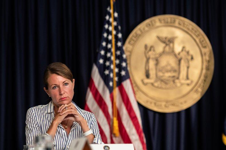 Melissa DeRosa attends media briefing