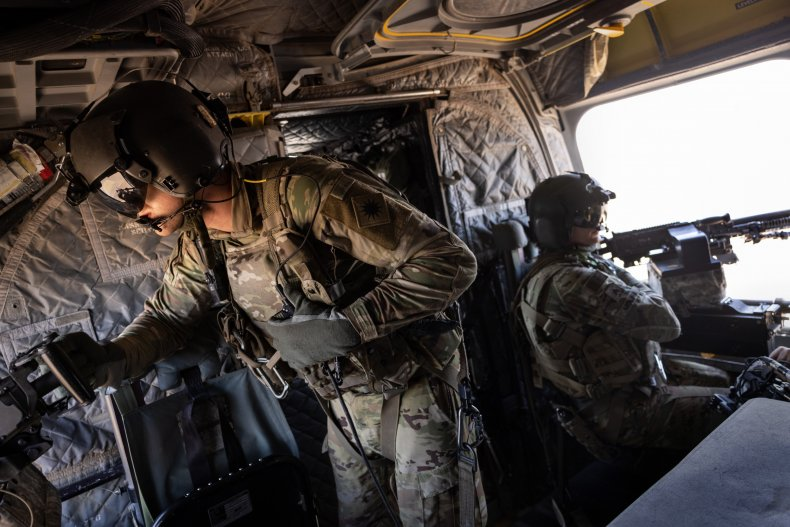 U.S. Army CH-47 Chinook helicopter gunners