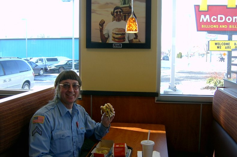 Photo of Donald Gorske at McDonald's.
