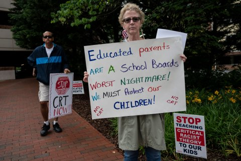 critical race theory protester in Virginia